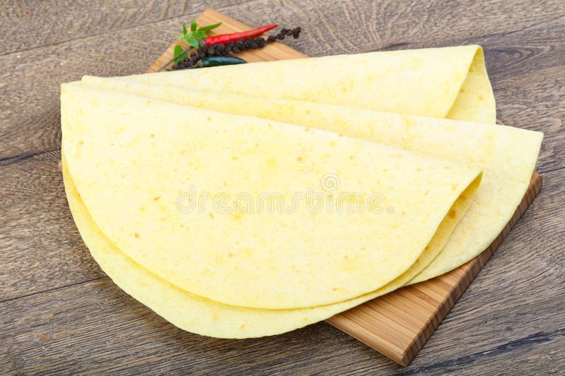 Tortilla on the wood background stock photography