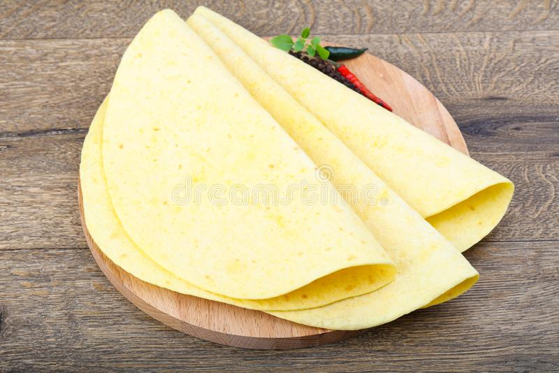 Tortilla on the wood background stock photos