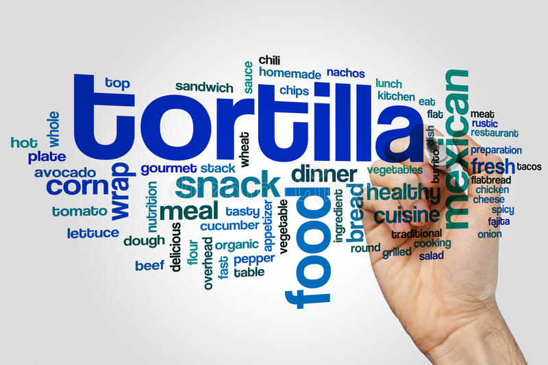 Tortilla word cloud. Concept on grey background royalty free stock images