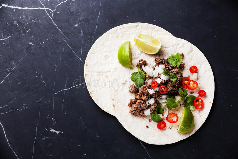 Tortillas με το επίγειο βόειο κρέας στοκ φωτογραφία με δικαίωμα ελεύθερης χρήσης