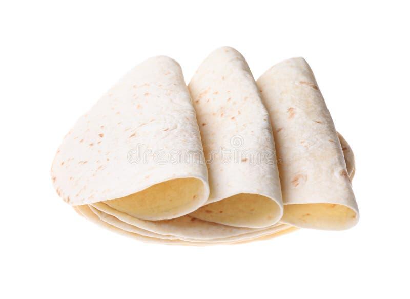 Tortillas мозоли на белизне Пресный хлеб стоковая фотография rf