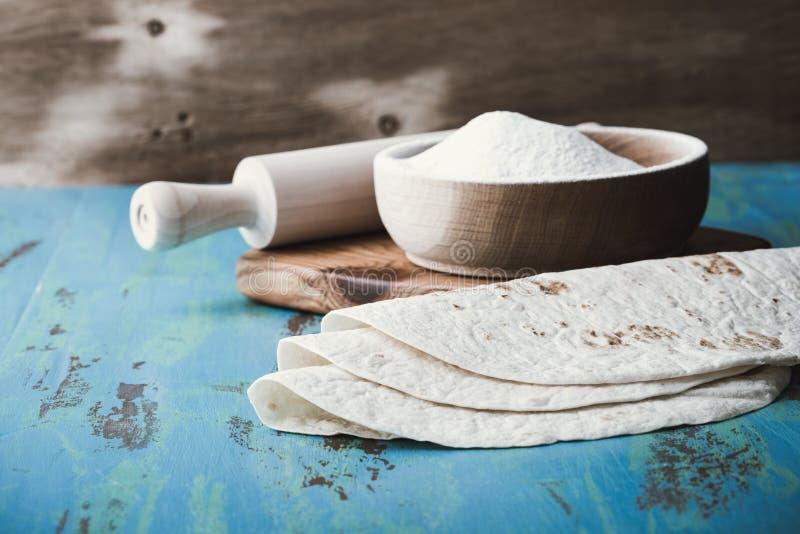 Tortillas de la harina, estilo de Tex-mex imagenes de archivo
