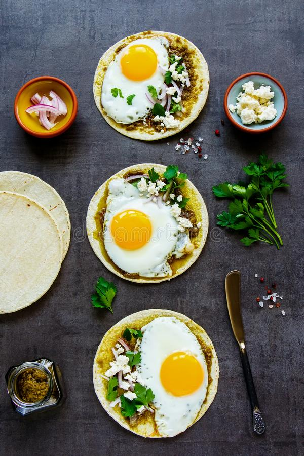 Tortillas with fried eggs royalty free stock photography