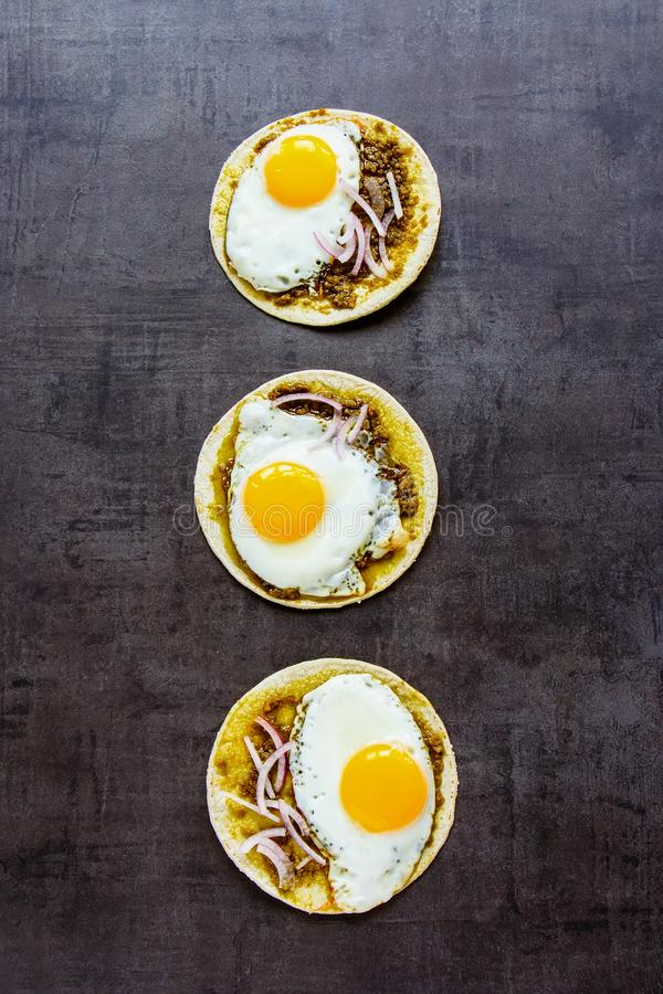 Tortillas with fried eggs stock image