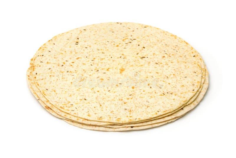 Tortillas Multigrain с отрубями и льном стоковая фотография