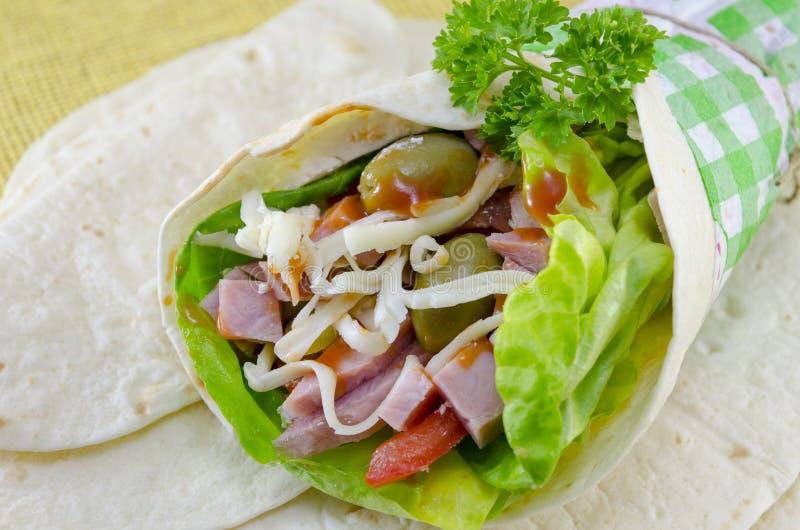 Tortillasandwich stockbild