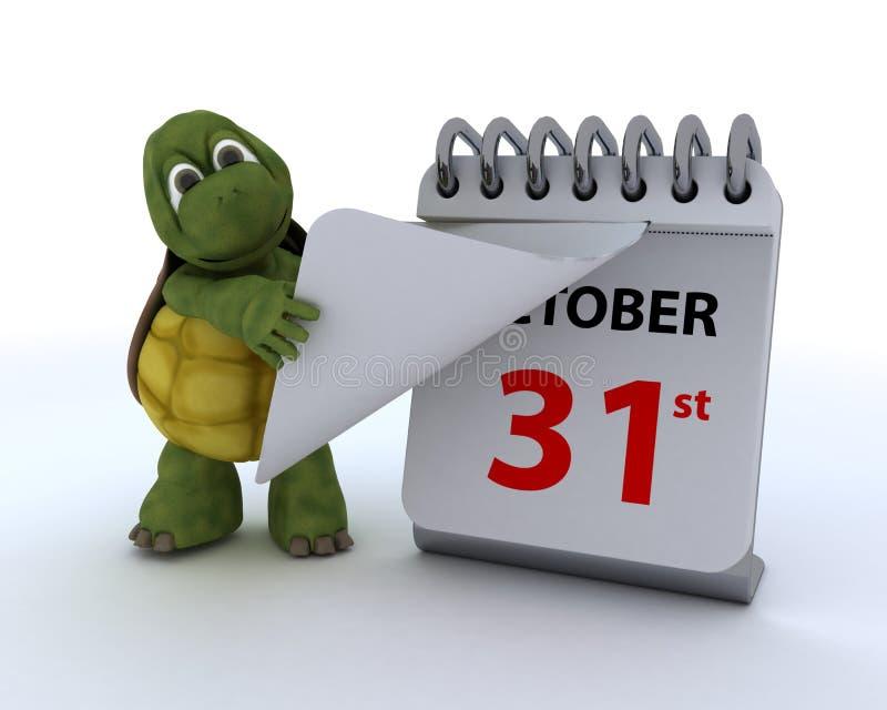 Tortoise με ένα ημερολόγιο διανυσματική απεικόνιση