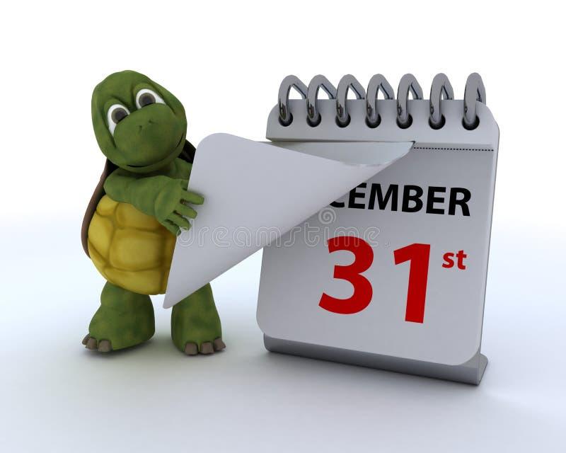 Tortoise με ένα ημερολόγιο απεικόνιση αποθεμάτων