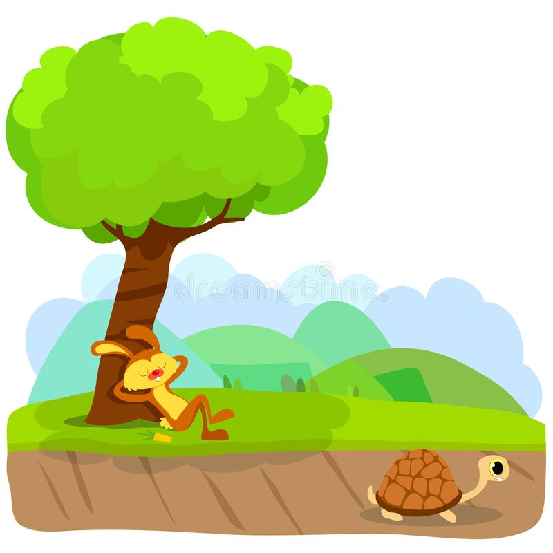Free Tortoise And The Hare Or Turtle And The Rabbit Fable Vectoral Illustration. Stock Photos - 145144123