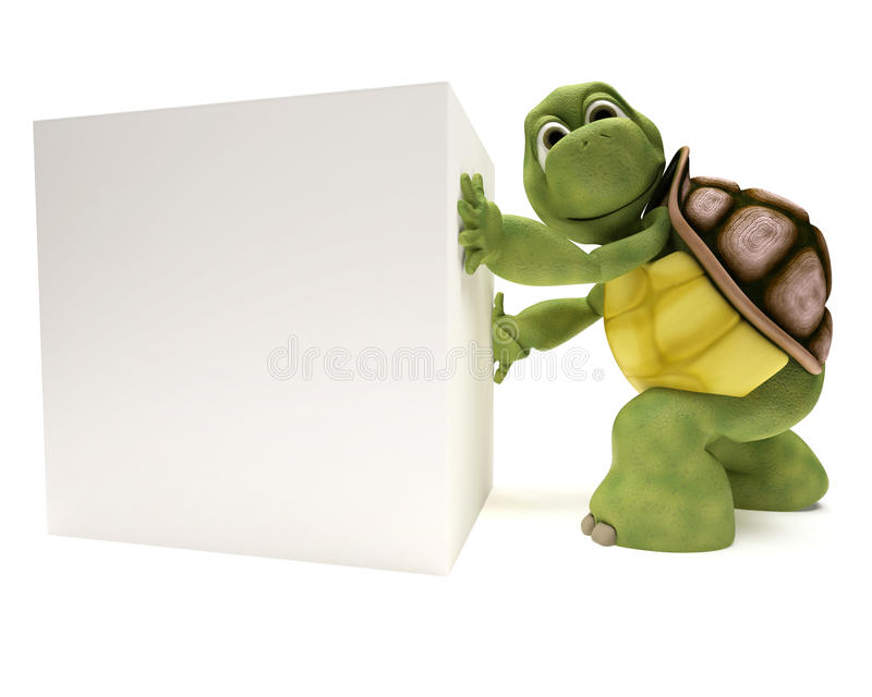 Tortoise with a blank white sign royalty free illustration