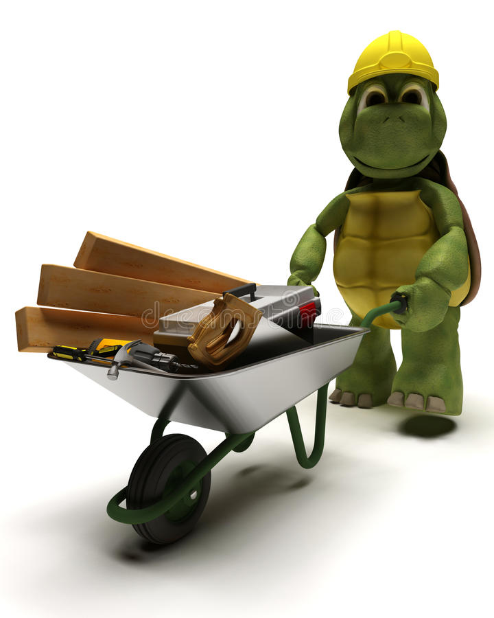 Tortoise Builder with tools royalty free illustration