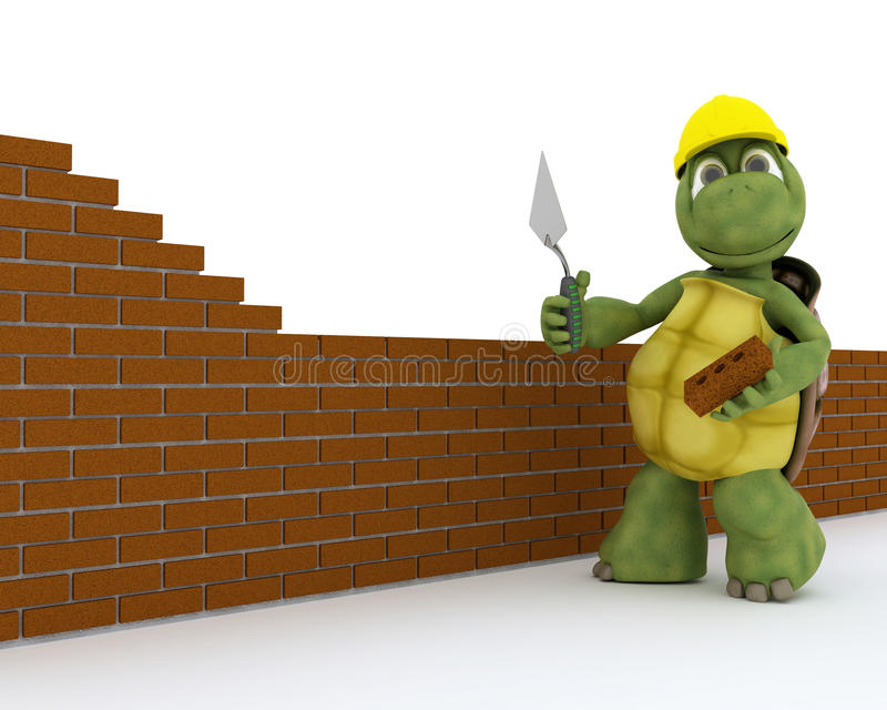 Tortoise building contractor royalty free illustration