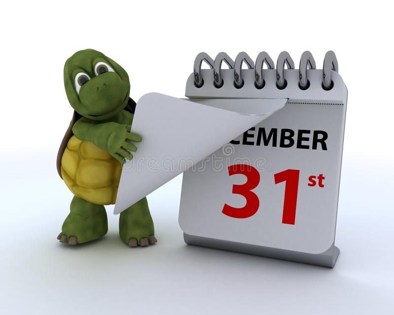 Tortoise with a calendar stock illustration
