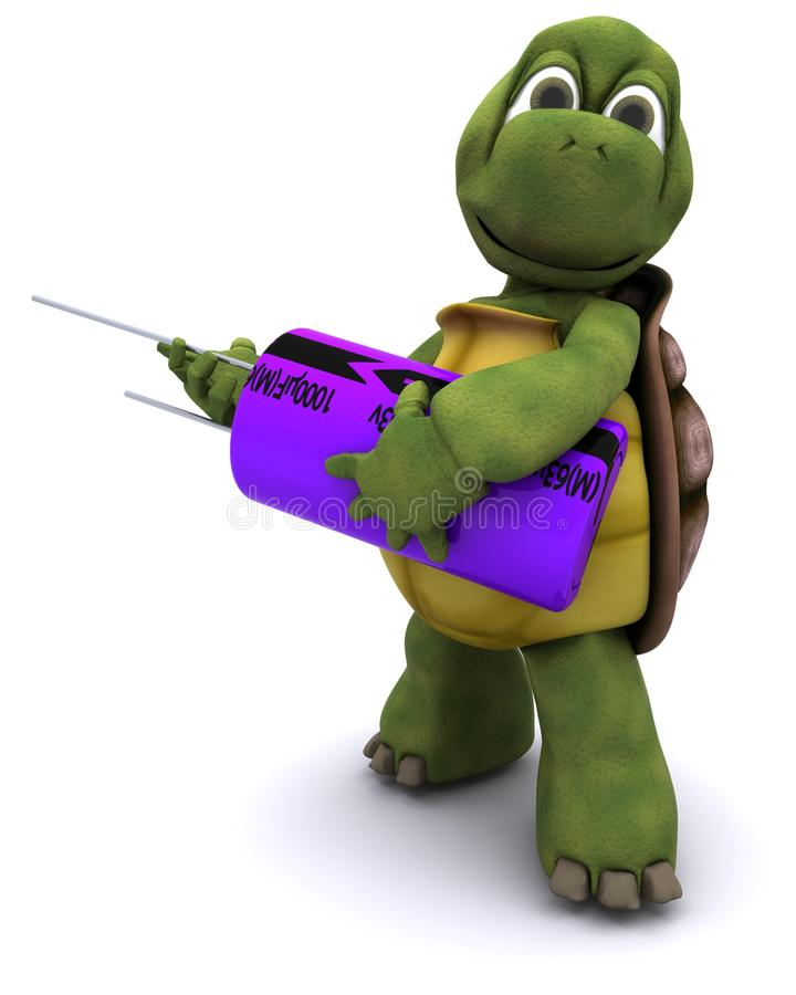 Tortoise With A Capacitor Royalty Free Stock Photos