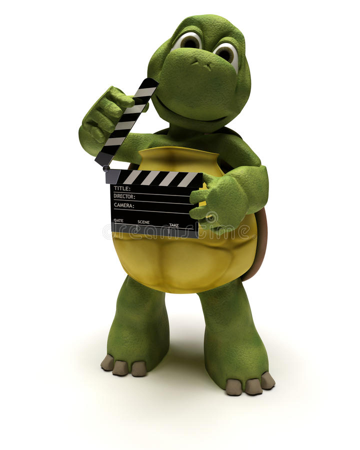 Tortoise with a clapper board vector illustration