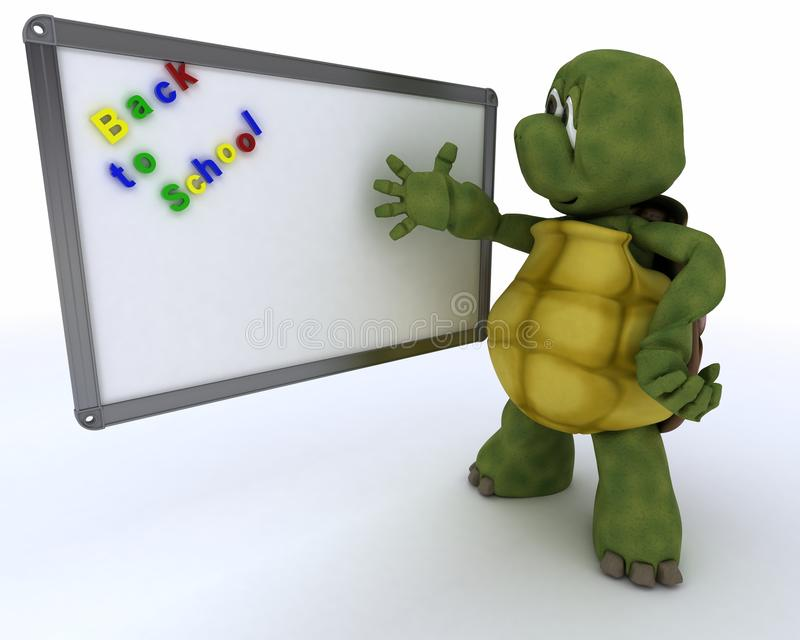 Tortoise with class room drywipe marker board royalty free illustration