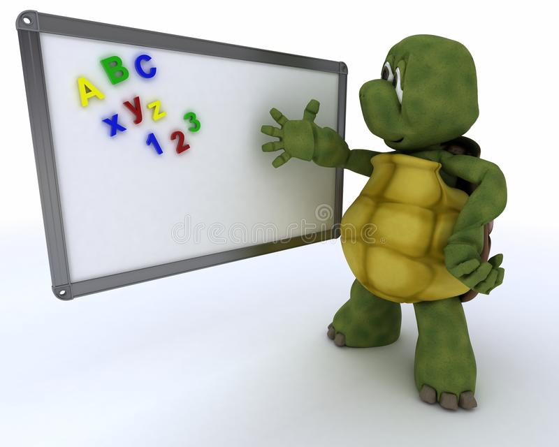 Tortoise with classroom drywipe board vector illustration
