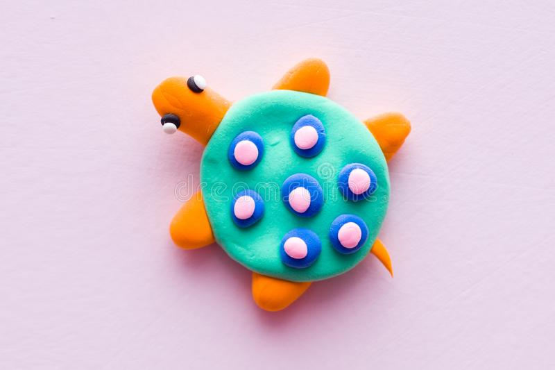 The tortoise clay toys. The tortoise handmade clay toysn stock image
