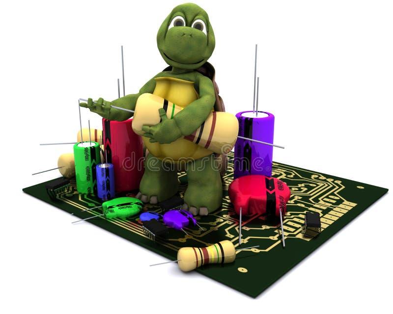Tortoise con un micro chip illustrazione vettoriale