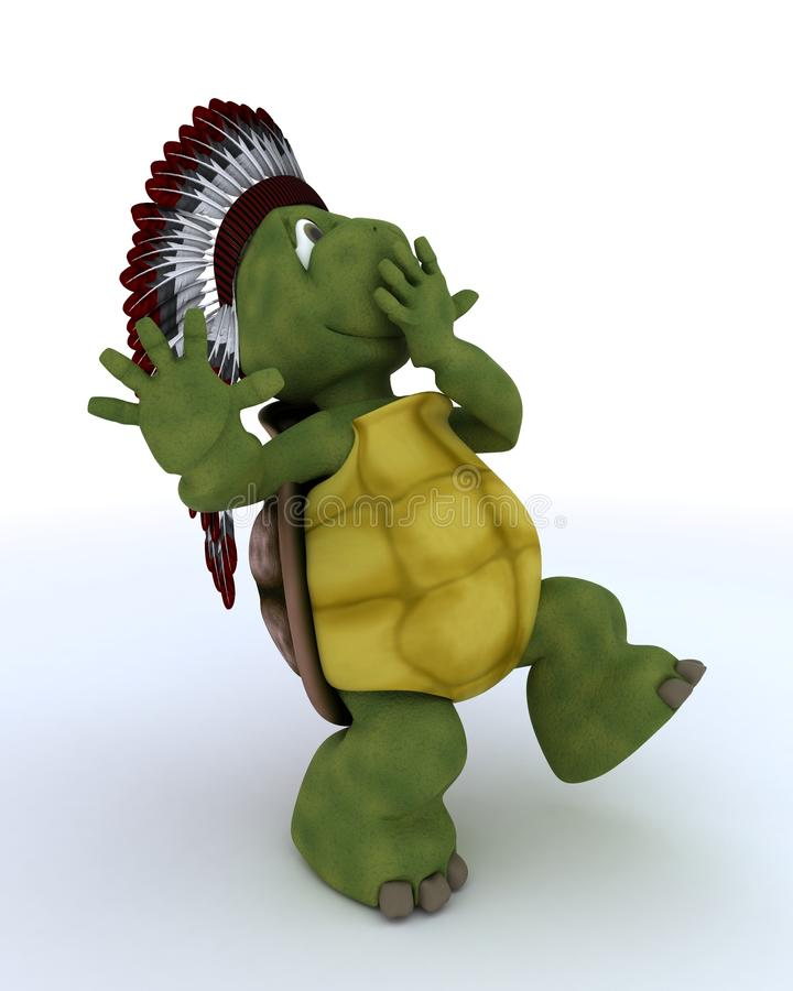 Tortoise dressed as native american indian stock illustration