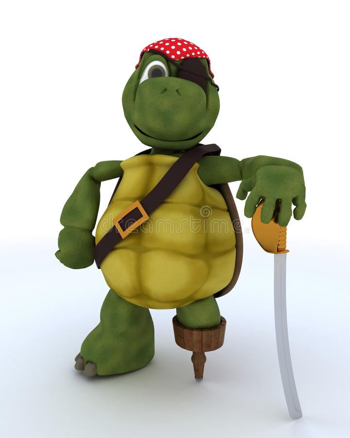 Tortoise dressed as a pirate royalty free illustration