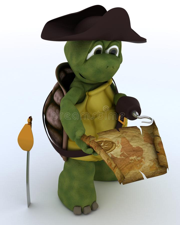 Tortoise dressed as a pirate stock illustration
