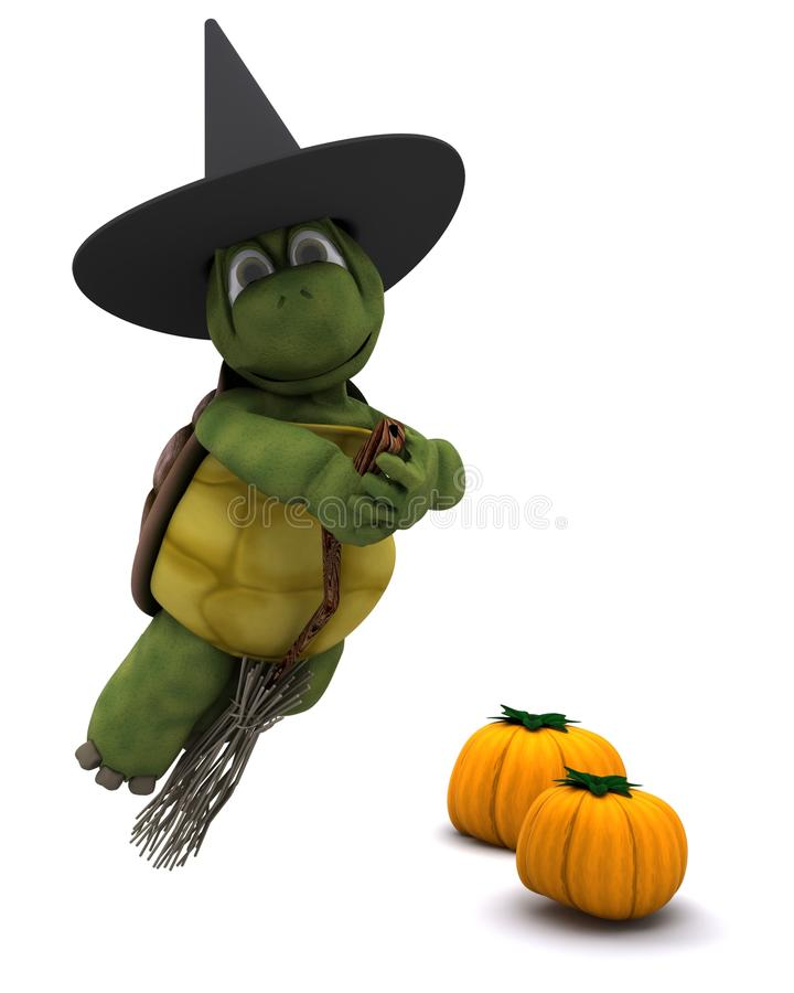 Tortoise dressed as a witch for halloween vector illustration