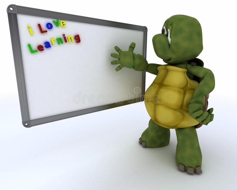 Tortoise with drywipe markerboard stock illustration