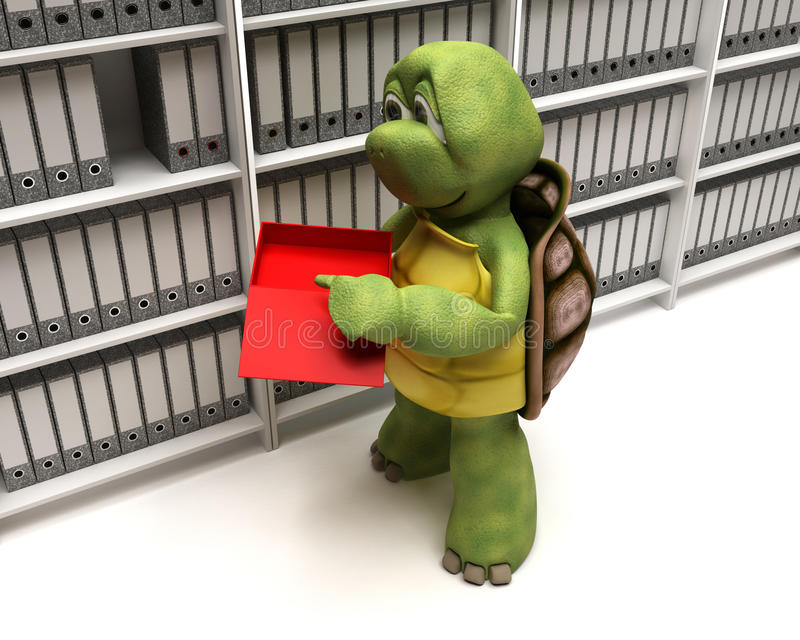 Tortoise Filing Documents Stock Photography