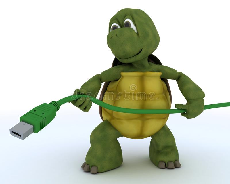 Tortoise with a firewire cable vector illustration