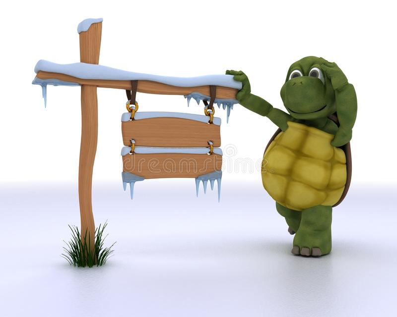 Download Tortoise With A Frozen Blank Road Sign Stock Illustration - Image: 27446772
