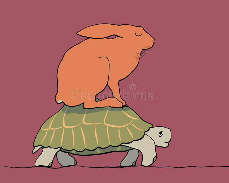 Tortoise and hare. EPS8 editable vector cartoon of a hare resting on the back of a tortoise with figures as separate objects royalty free illustration