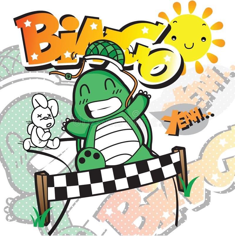 Tortoise i zając ścigać się ilustracji