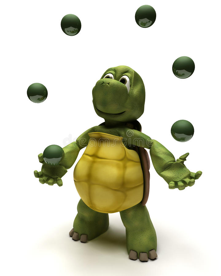 Tortoise juggling balls stock illustration