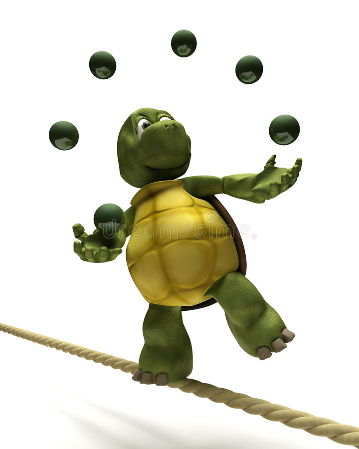 Tortoise juggling on a tight rope royalty free illustration