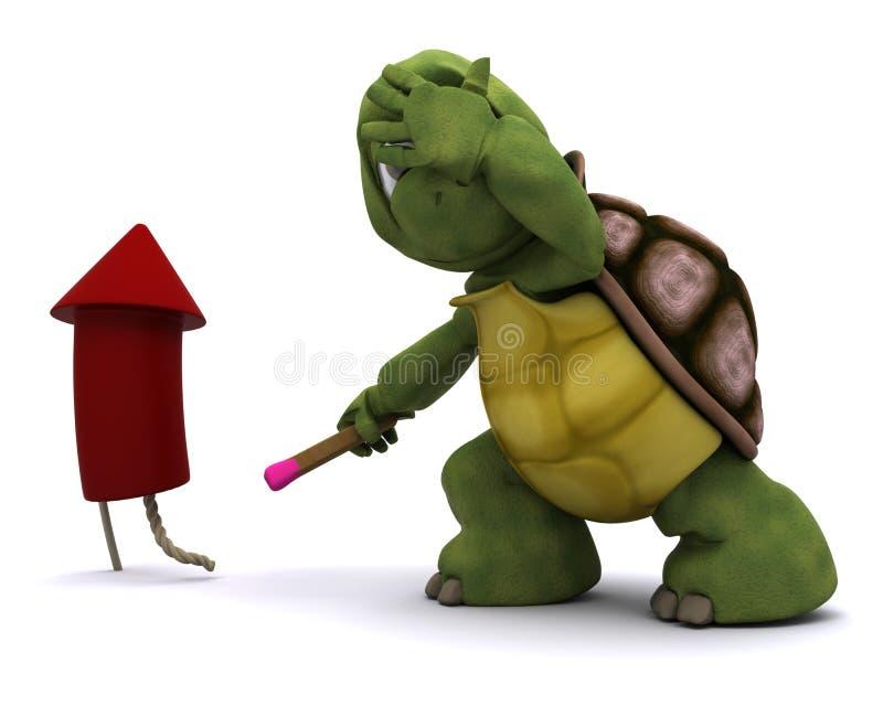 Tortoise lighting a firework royalty free illustration