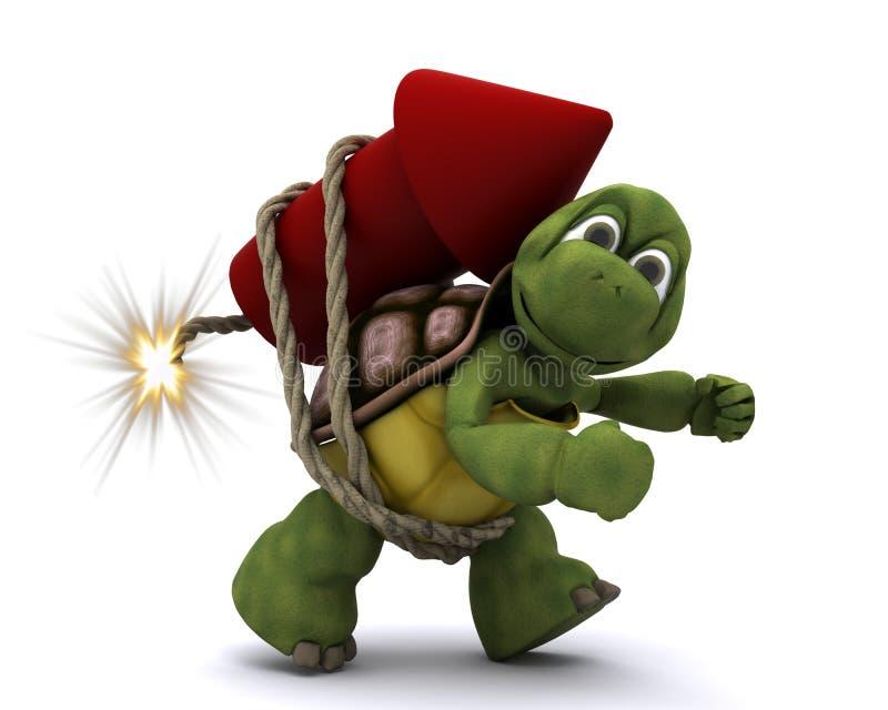 Tortoise lighting a firework vector illustration