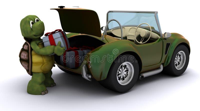 Tortoise loading christmas gift into a car stock illustration