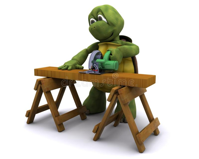 Download Tortoise with a power saw stock illustration. Image of render - 22178594