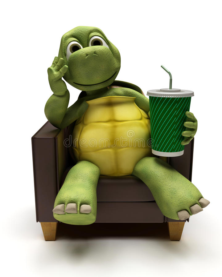 Download Tortoise Relexing In Armchair Drinking A Soda Stock Photography - Image: 21586902