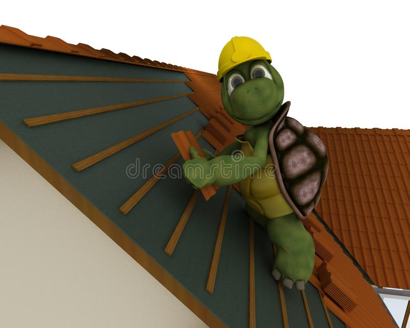 Tortoise roofing contractor vector illustration