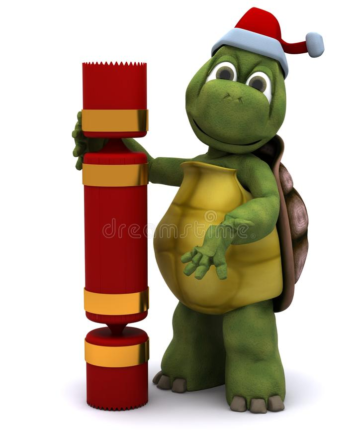 Tortoise santa character stock illustration