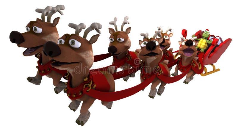 Tortoise santa with sleigh and reindeer vector illustration