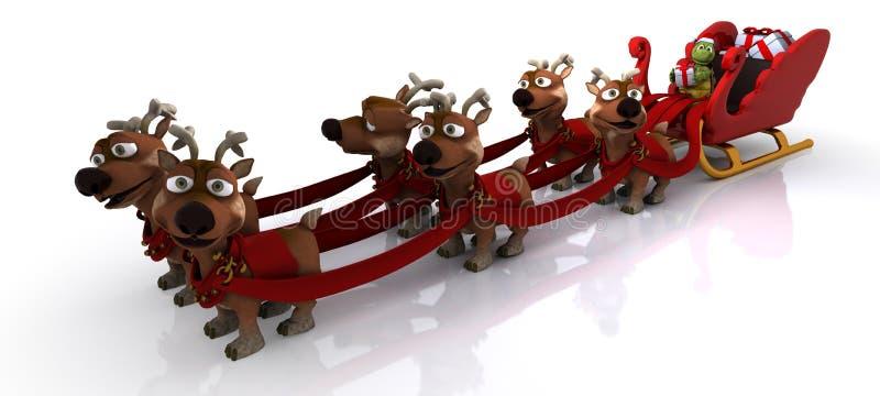 Tortoise in santas sleigh vector illustration