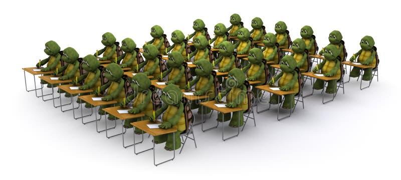 Tortoise sat at school desk stock illustration