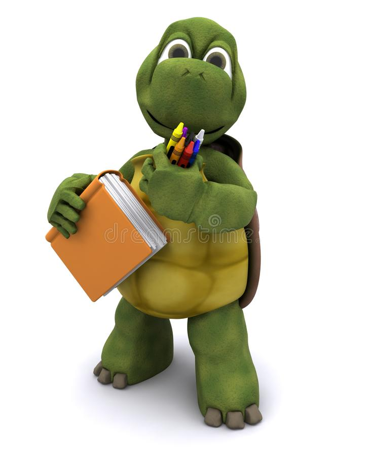 Tortoise with school book and crayons vector illustration