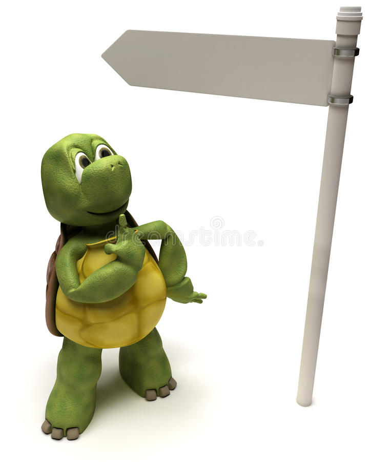 Tortoise with a signpost. 3D Render of a Tortoise with a signpost vector illustration