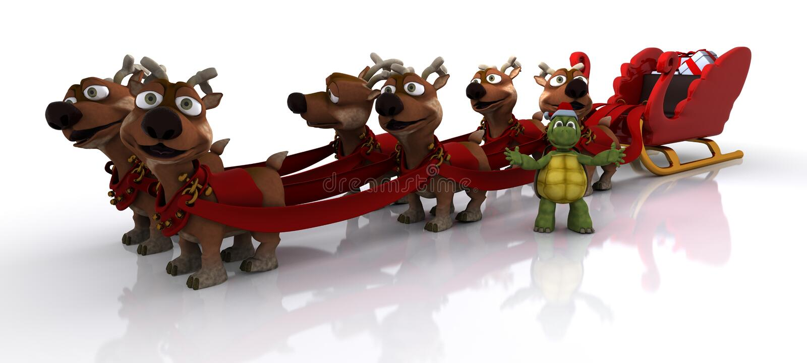 Tortoise with sleigh and reindeer royalty free illustration