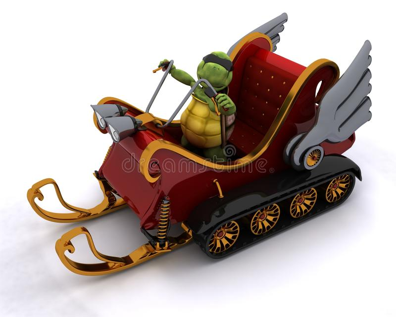 Tortoise in a snowmobile sleigh vector illustration