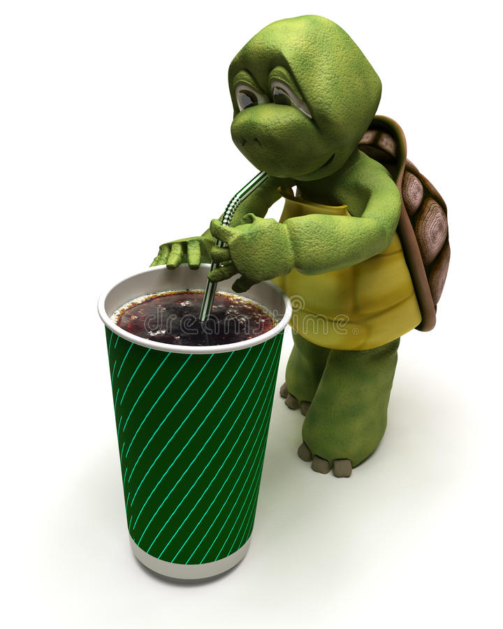 Tortoise With A Soda And A Straw Royalty Free Stock Photos